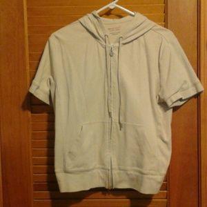 Beige shortsleeve zip-up hoodie